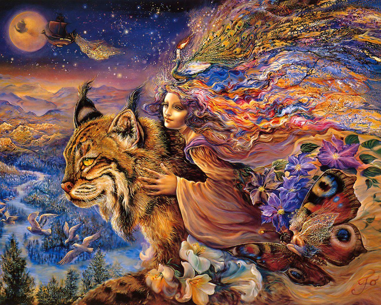 Josephine Wall Art flight of the lynx ~ josephine wall | mystical enchanted worlds