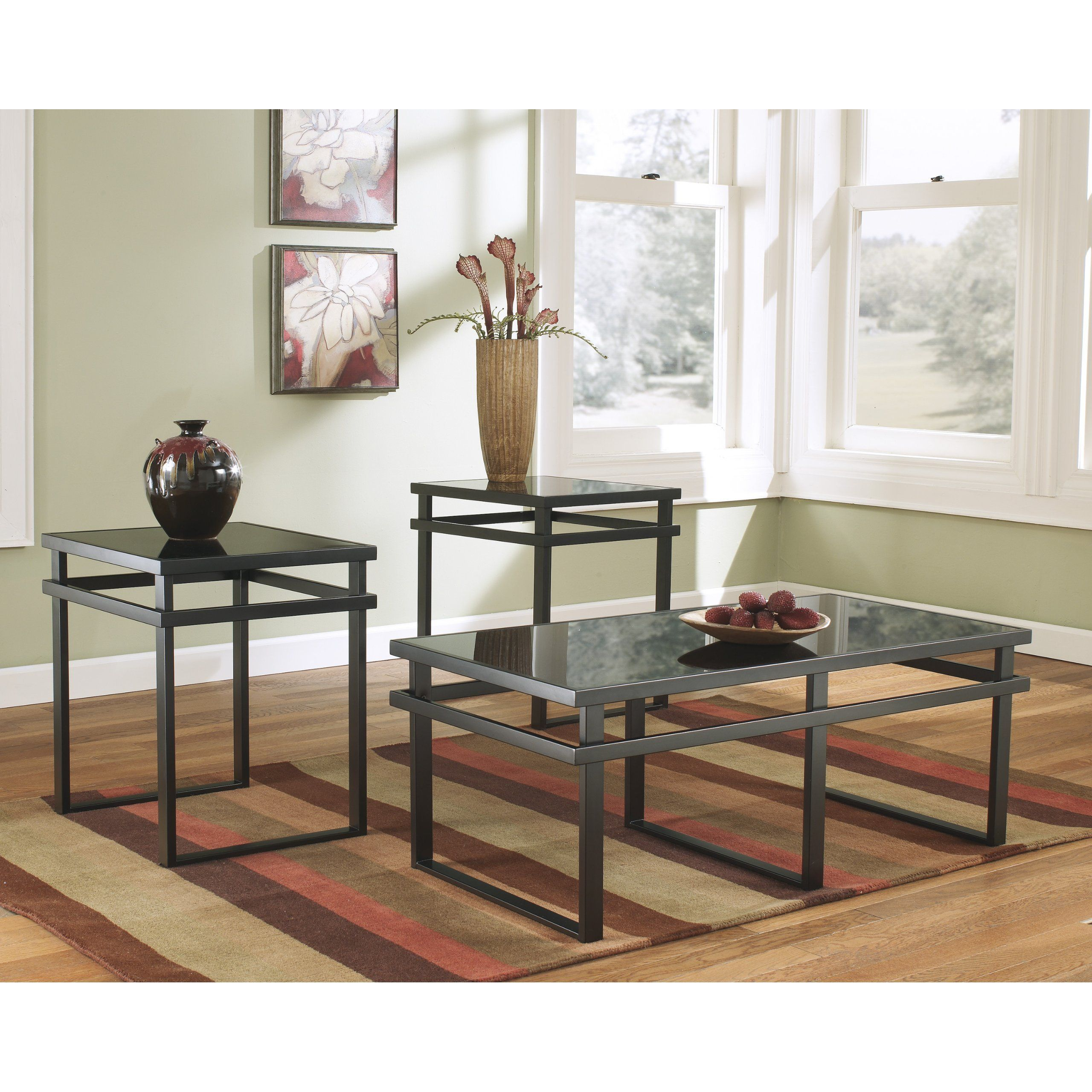 FurnitureMaxx Lane 3pc Black Metal and Glass Coffee End Table Set