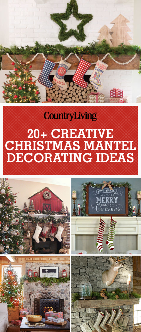 save these creative christmas mantel dcor ideas for later dont forget to follow country living on pinterest for more great christmas crafts and ideas - Pinterest Decorating Mantels For Christmas