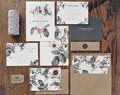 Painterly Floral Wedding Invitation & Correspondence Set / Vintage Florals and Modern Accents / Sample Set