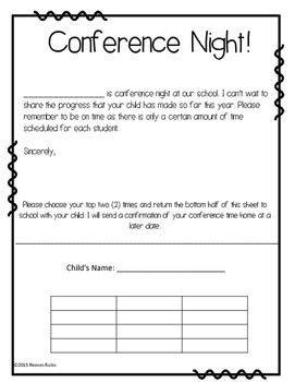 Conference Night Parent Request Form  Parents And Students