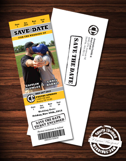 custom designed baseball themed save the date event tickets