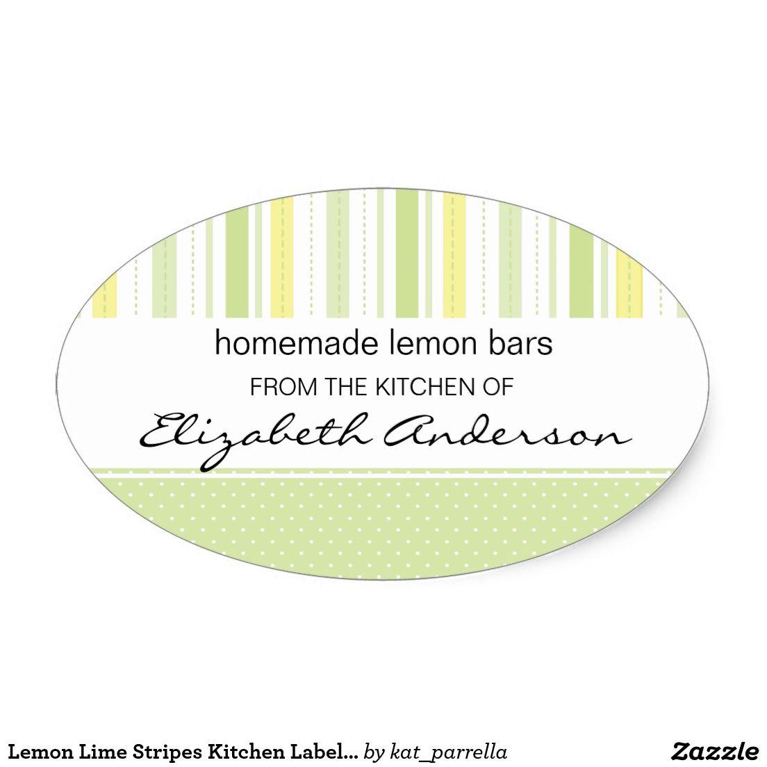 lemon lime stripes kitchen label baking sticker custom baking