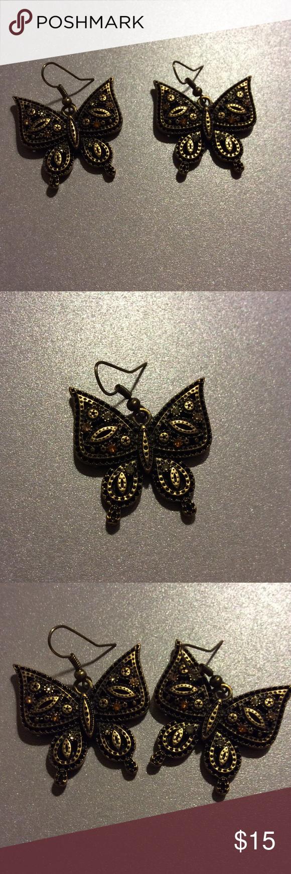 Butterfly earrings Brass butterfly shaped Jewelry Earrings