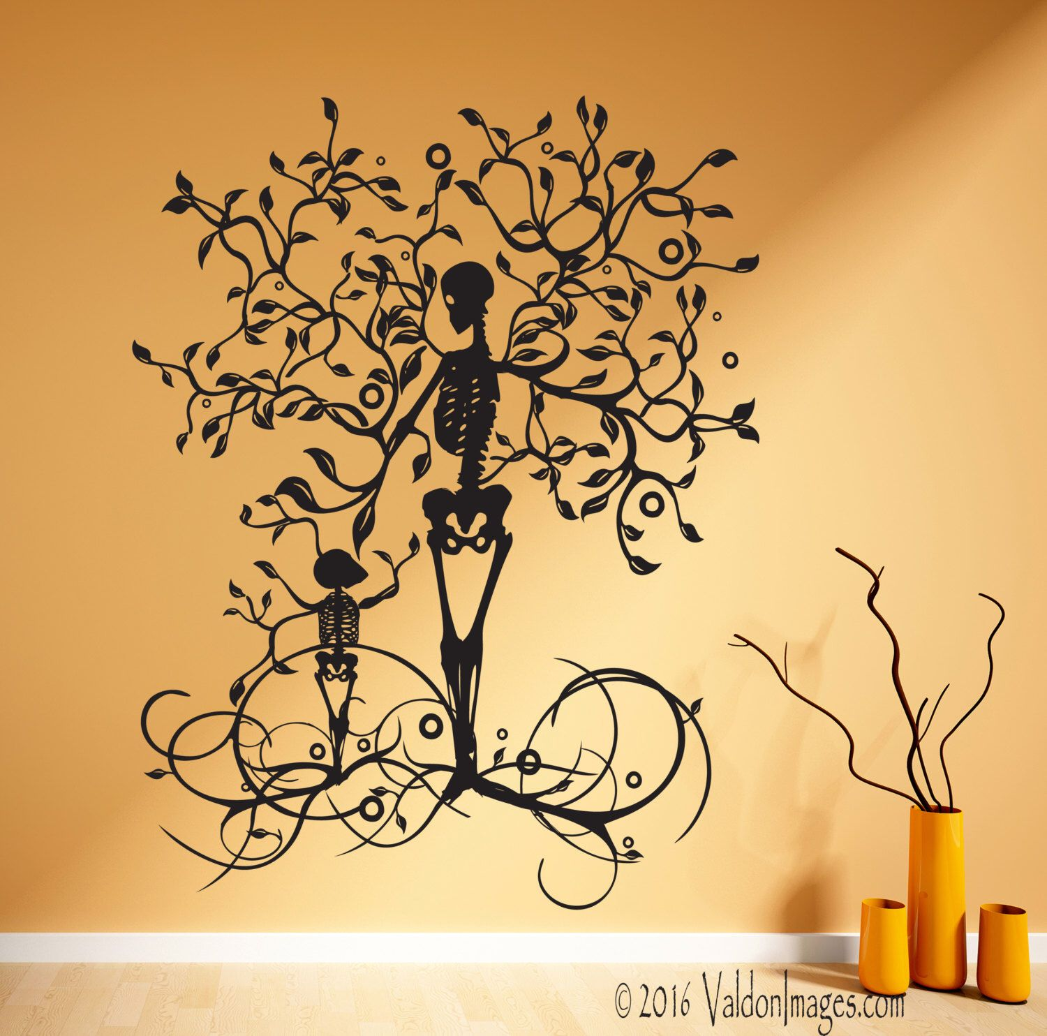 Skeleton wall decal, tree wall decal, tree of life wall decal, tree ...