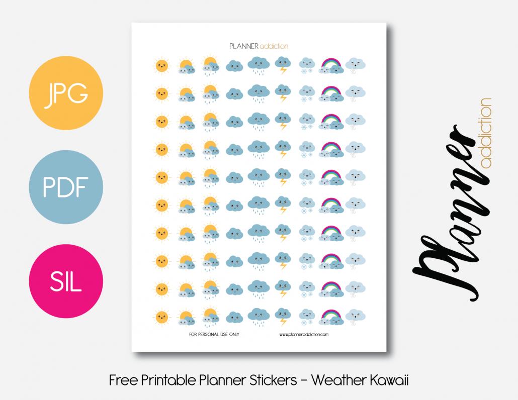 Free Printable Planner Stickers - Weather Kawaii