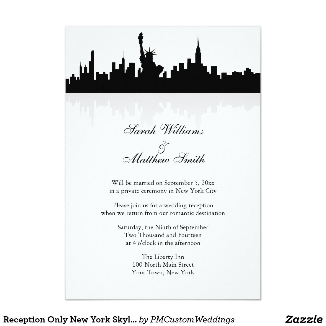 Reception only new york skyline wedding invitation invitation reception only new york skyline wedding invitation stopboris Gallery
