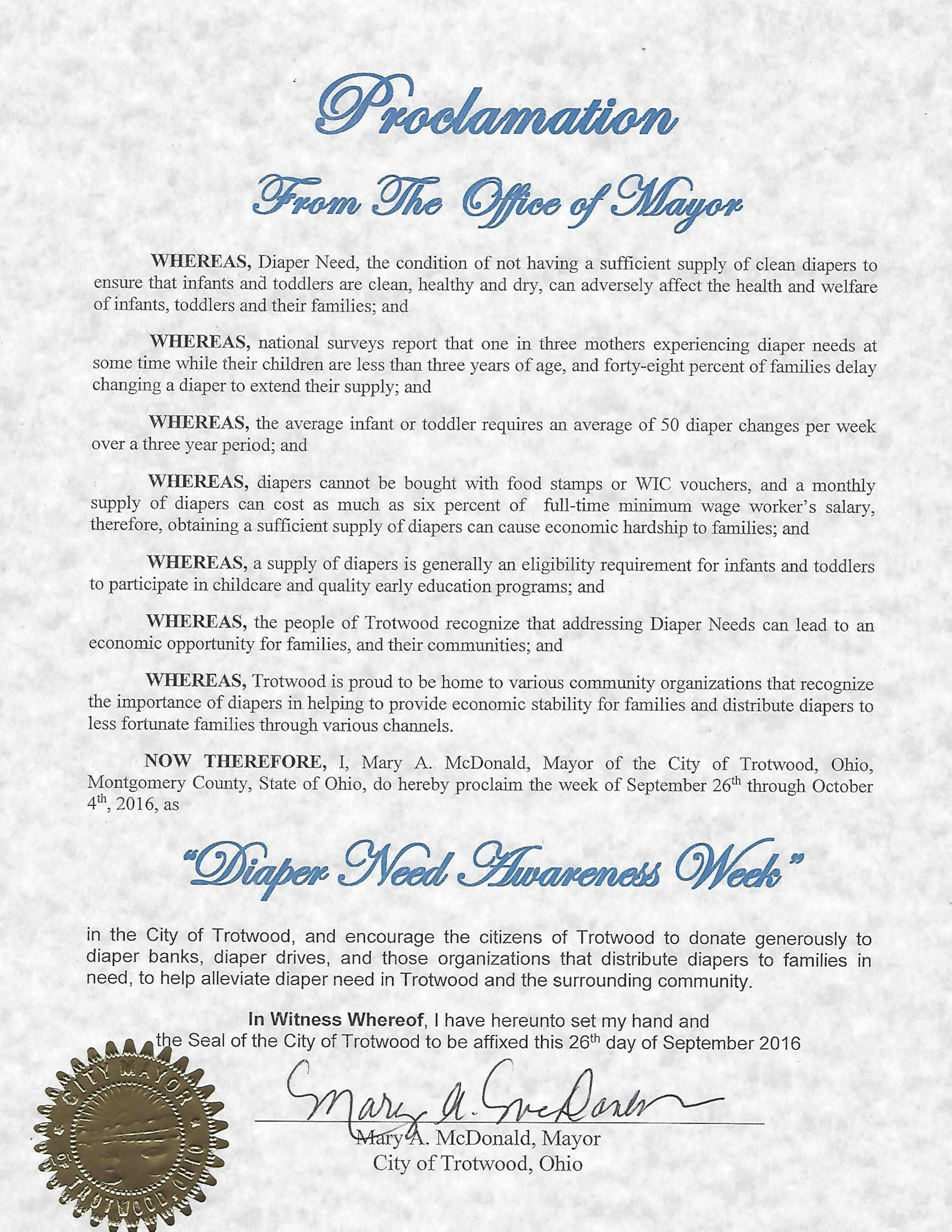 TROTWOOD, OH - Mayoral proclamation recognizing Diaper Need Awareness Week (Sep. 26 - Oct. 2, 2016) #diaperneed diaperneed.org