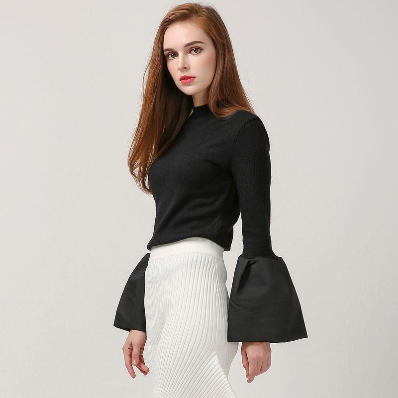 [Twotwinstyle] 2017 primavera mujeres hoodies empalme flare mangas cuello alto pullover thin géneros de punto nuevo streetwear en Camisas y Sudaderas de Ropa y Accesorios de las mujeres en AliExpress.com | Alibaba Group
