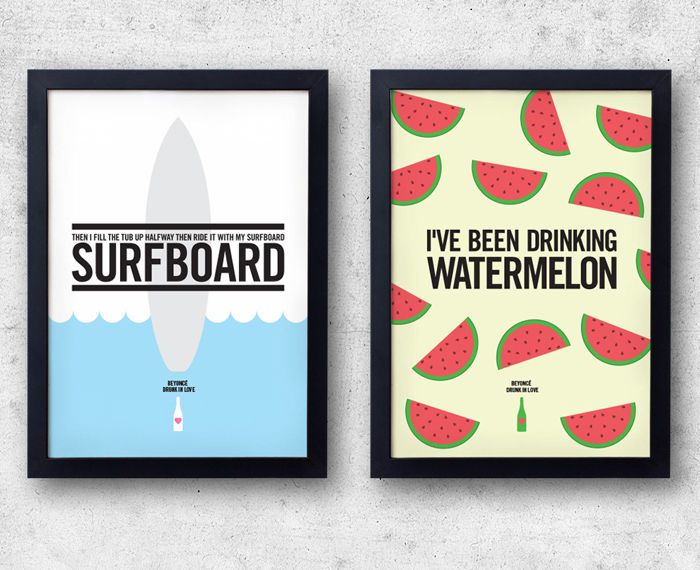 Beyonce Drunk In Love Poster Set Watermelon And Surfboard Prints
