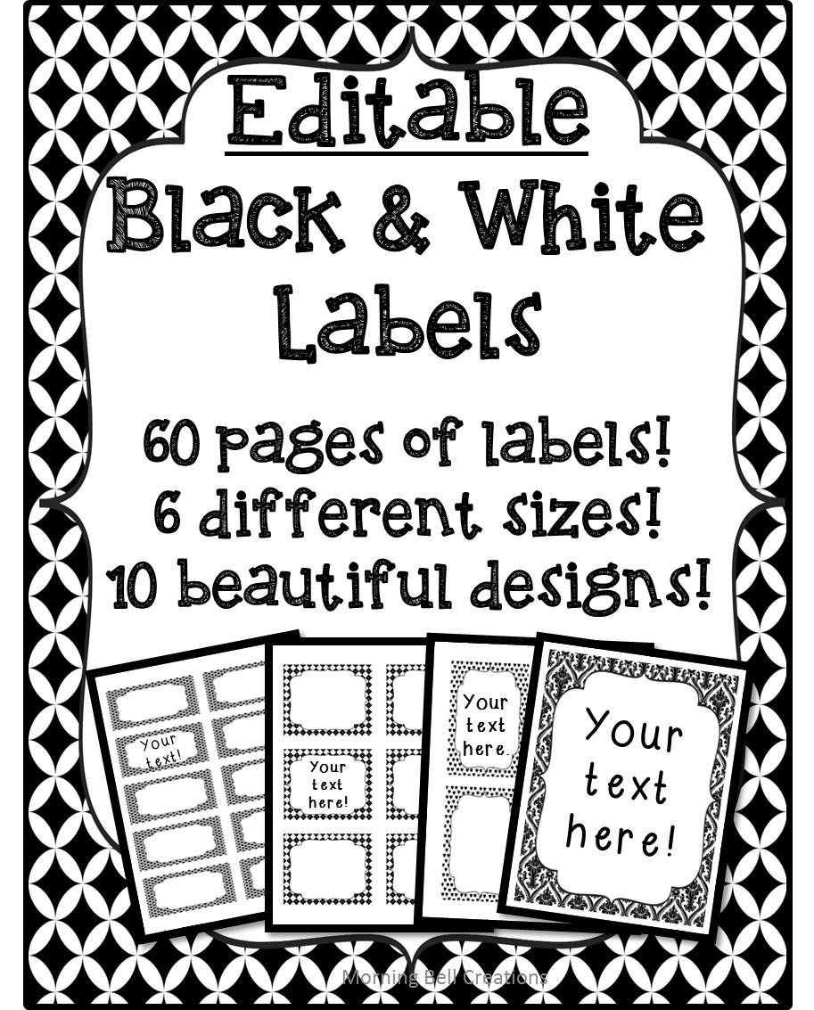 labels: editable black and white | back to school tpt pre-k/ 7th