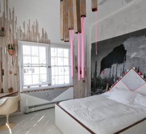 Perfekt 12 Ideen Für Schlafzimmer Farben Und Originelles Schlafzimmer Design Mit  Holzlatten Und Grauen Dreecken