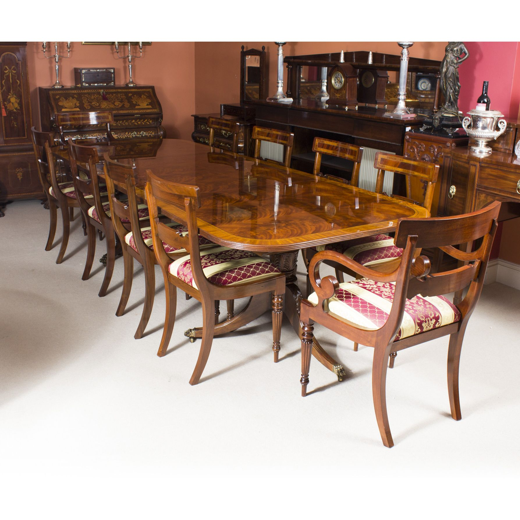 dining table with 10 chairs. Flame Mahogany 10ft Regency Style Dining Table \u0026 10 Chairs With