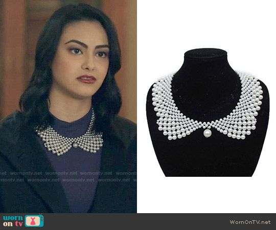 210a799eb4d Veronica s pearl collar necklace on Riverdale. Outfit Details  https    wornontv.