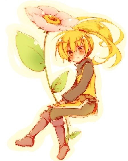 Anime girl with flower