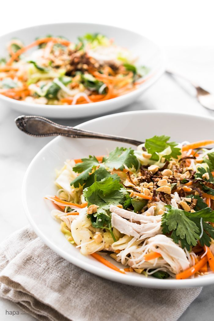 Crispy, crunchy cabbage-based salad with ginger-garlic poached chicken, vermicelli rice noodles, and a dressing that will knock your sock off!