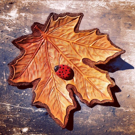 Hand tooled leather maple leaf & ladybug pin by Gemsplusleather
