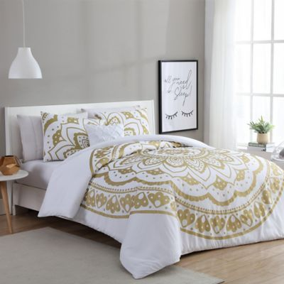 Image Of Vcny Karma Comforter Set In Gold White Apartment Ideas