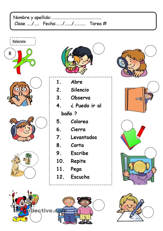 lenguaje en el clase classroom commands instrucciones spanish worksheets spanish lessons. Black Bedroom Furniture Sets. Home Design Ideas