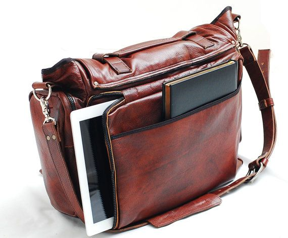 Custom Leather messenger bag 22 inch leather bag by sizzlestrapz