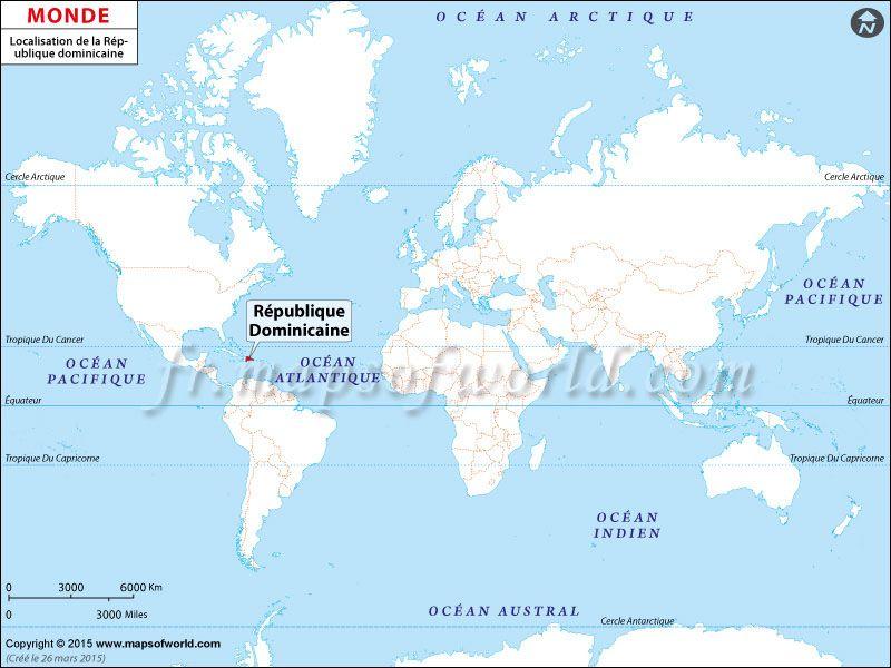 Localisation de la République dominicaine sur la carte du monde