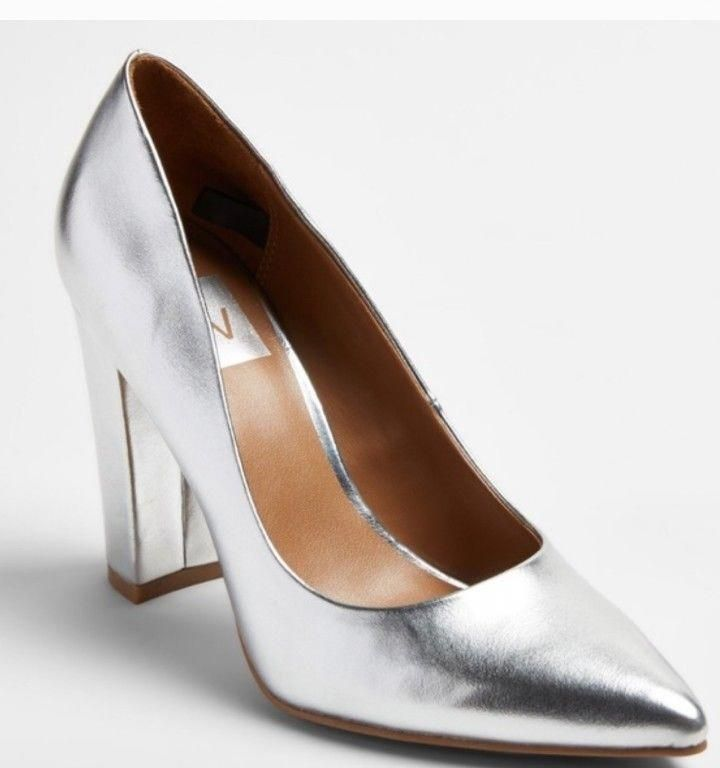 3fc5e176b95 Silver chunk Heel Pumps Target Dv new pointed to 7.5 shoes block heel tags   fashion  clothing  shoes  accessories  womensshoes  heels  ad (ebay link)  ...