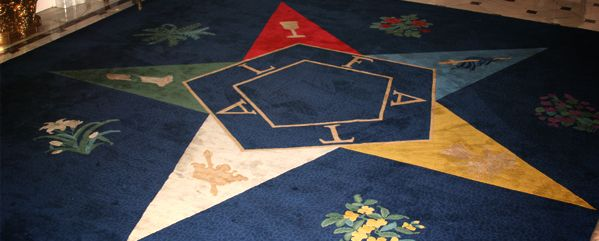 OES Rug in Reception Room of IH in DC | Eastern star, Star ...