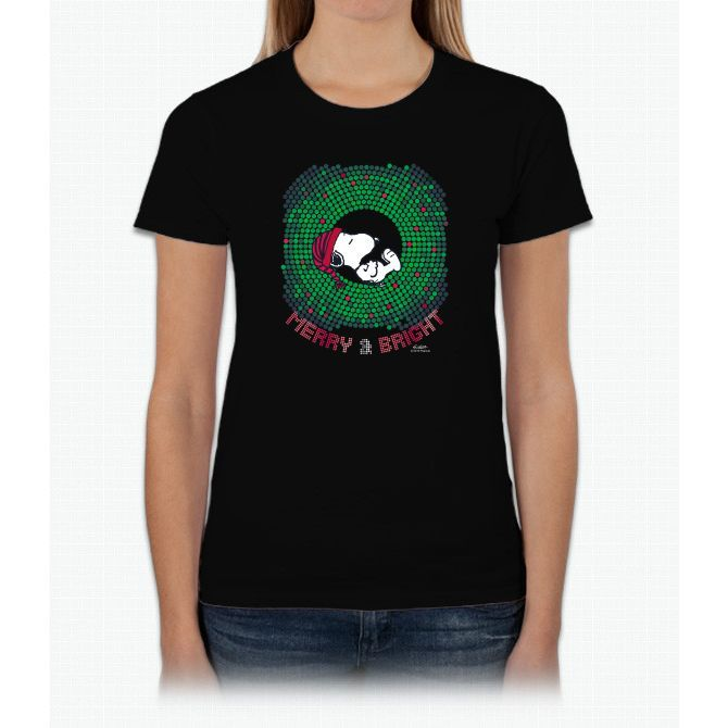 Peanuts Snoopy Merry A Ladies T-Shirt