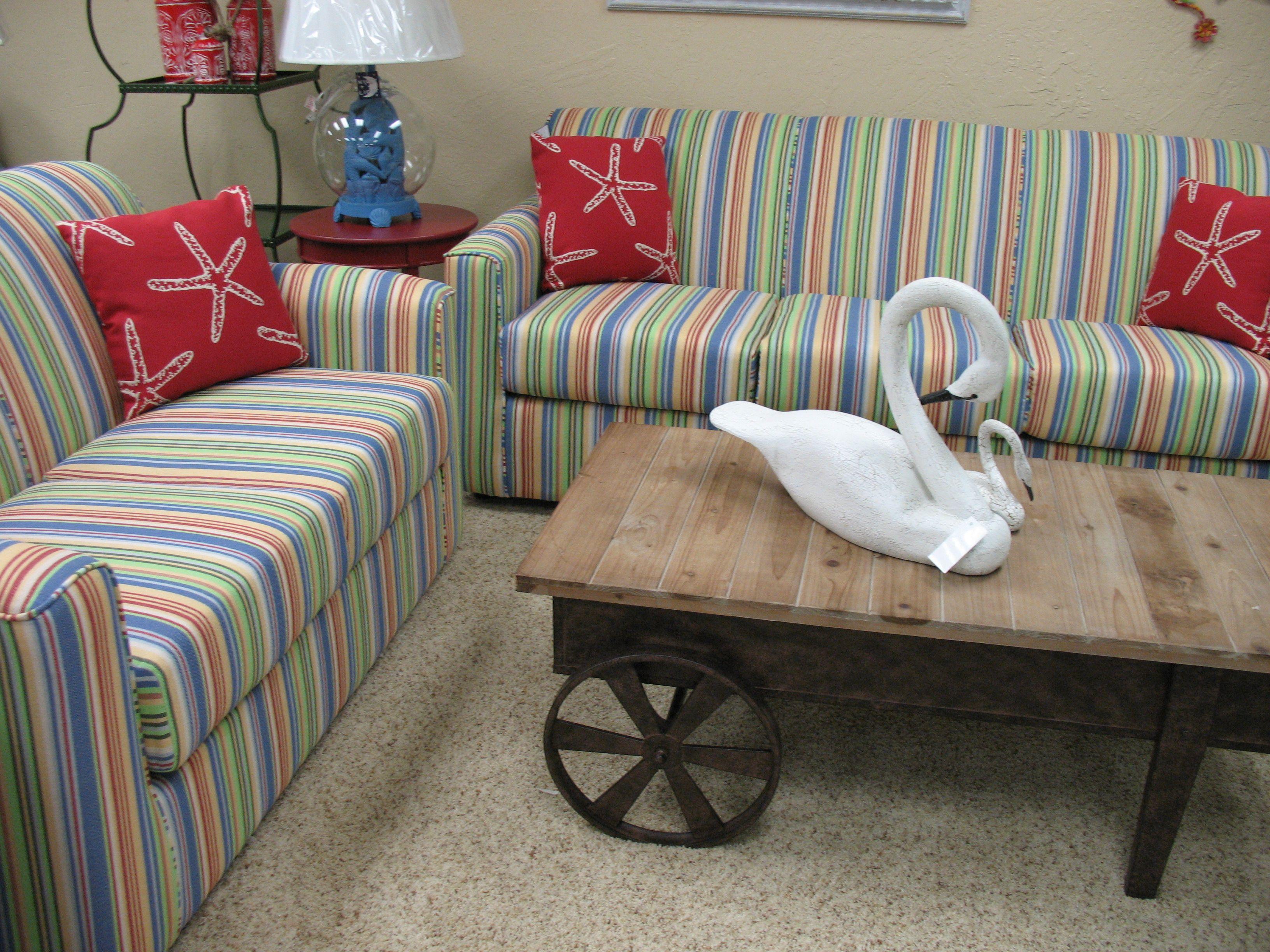 Multi Colored Striped Sofa And Loveseat Furniture Striped Sofa