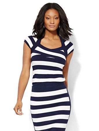 196bc9193df 7th Avenue Design Studio Crossover Striped Sweater - New York   Company