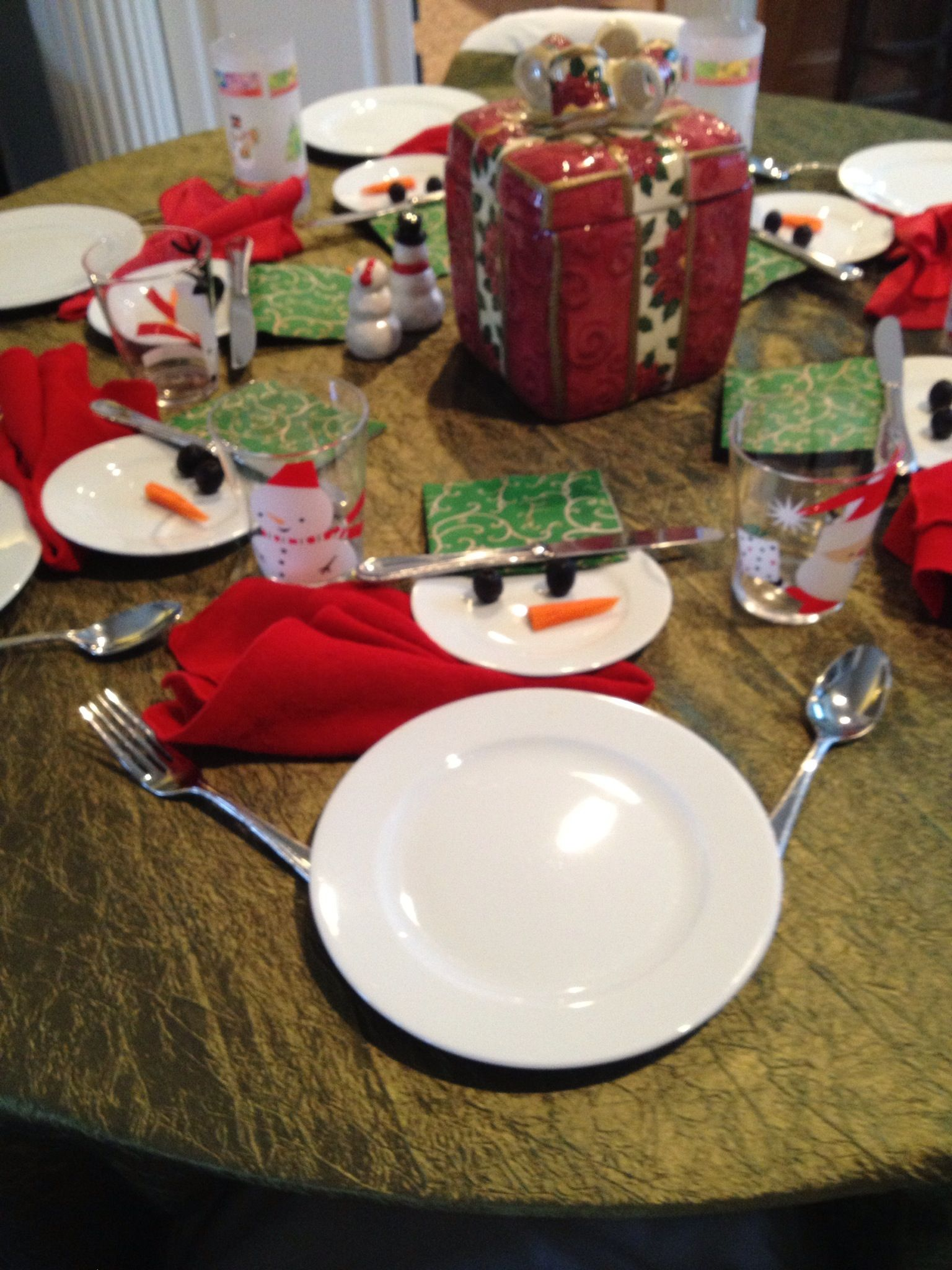 Snowman table setting for kids Salad and bread plate (body and head) Cocktail : table setting bread plate - pezcame.com