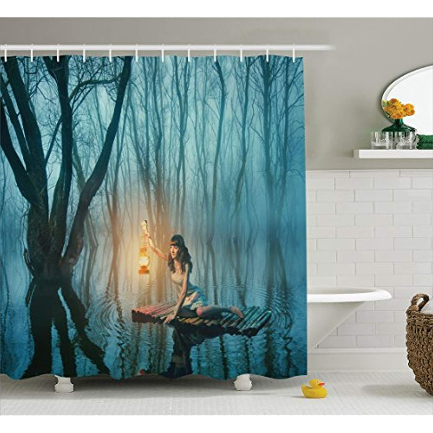 Ambesonne Gothic Decor Collection Fairy Tale Woman With Lantern Floating On Lake Rustic Dress In Bathroom Decor Sets Gothic Decor Bathroom Shower Curtain Sets 75 inch long shower curtain