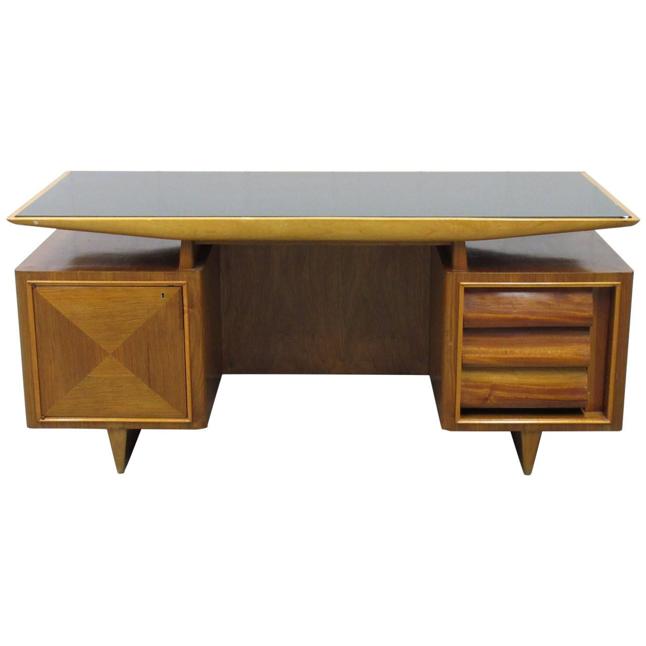 Executive office table with glass top midcentury modern italian executive desk  furniture storage mid