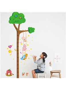 Lovely Small Animals on A Swing Print Height Measurement Kids Wall Sticker