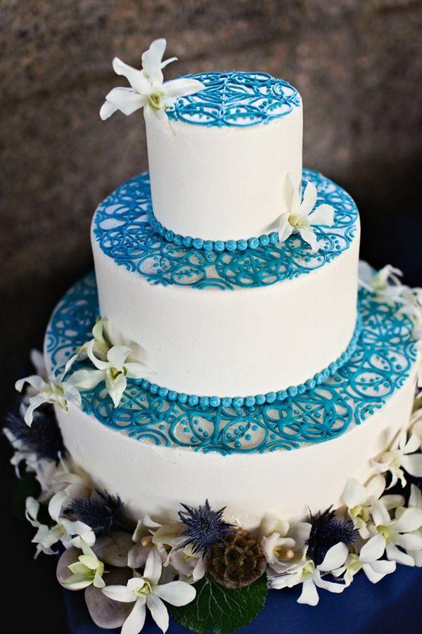 Blue Wedding Cake Ideas Lace Wedding Cake Unique Wedding Cakes Wedding Cakes Blue