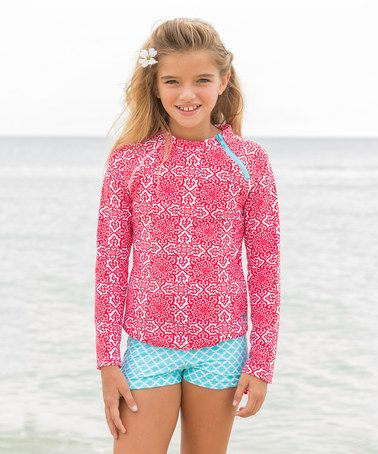 This Fiery Shores Rashguard Set - Girls by Cabana Life is perfect! #zulilyfinds