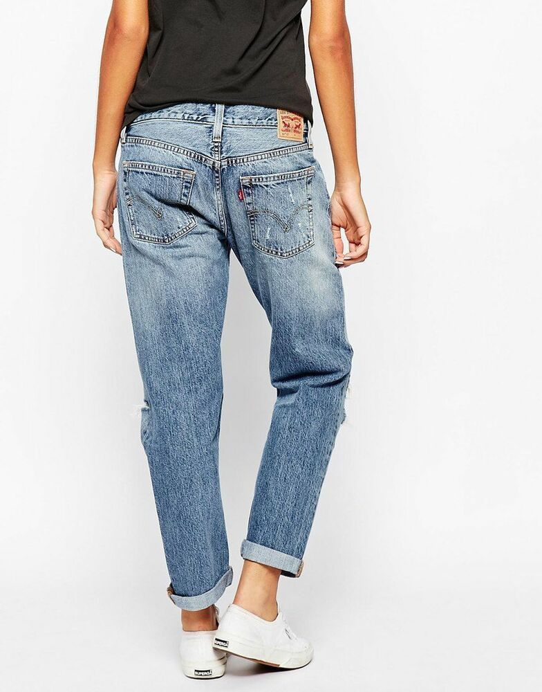 1c22480b88f NEW LEVI BOYFRIEND SLIM LEG 601 Love Fool JEANS women W28 L34 size ladies  10-12