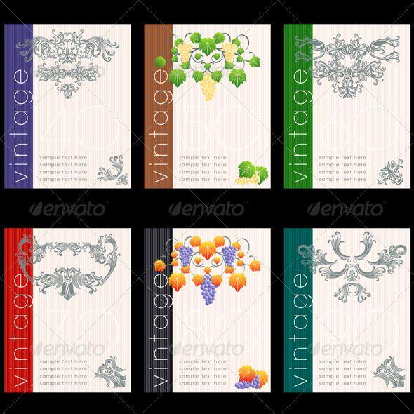 Wine Label Design Wine Labels Design Template Set - Decorative