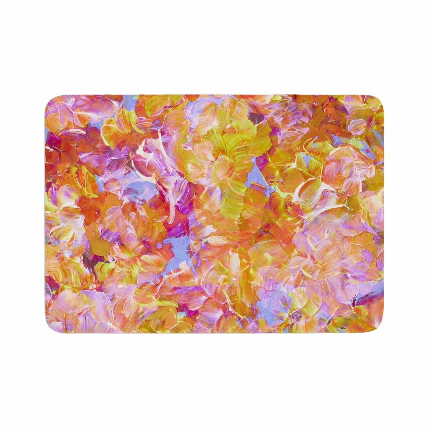 Ebi Emporium Bloom On Yellow Orange Memory Foam Bath Mat Kess