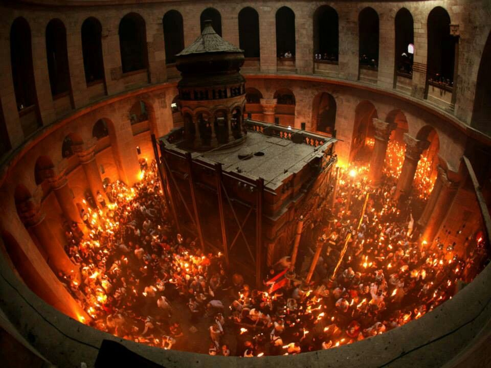 easter in Palestine Holy light, Jerusalem, Holy saturday