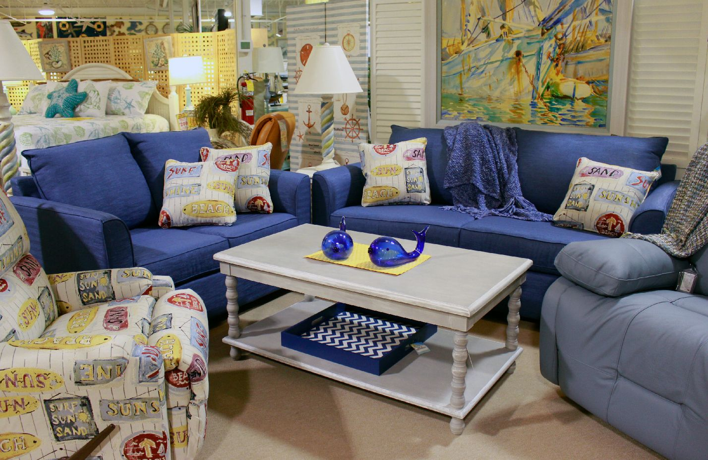 Blue Sofa And Love Seat Set With Beachy Theme Beach Decor Living Room Beach Theme Living Room Coastal Decorating Living Room