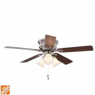 Clarkston 44 In Indoor Brushed Nickel Ceiling Fan With Light Kit Cf544peh Bn The Home Depot Ceiling Fan Ceiling Fan Light Kit Brushed Nickel Ceiling Fan
