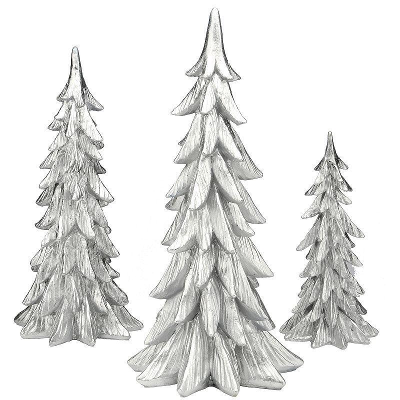 National Tree Company Silver Finish Christmas Trees Floor Decor 3 Piece Set National Tree Company Holiday Decor Floor Decor