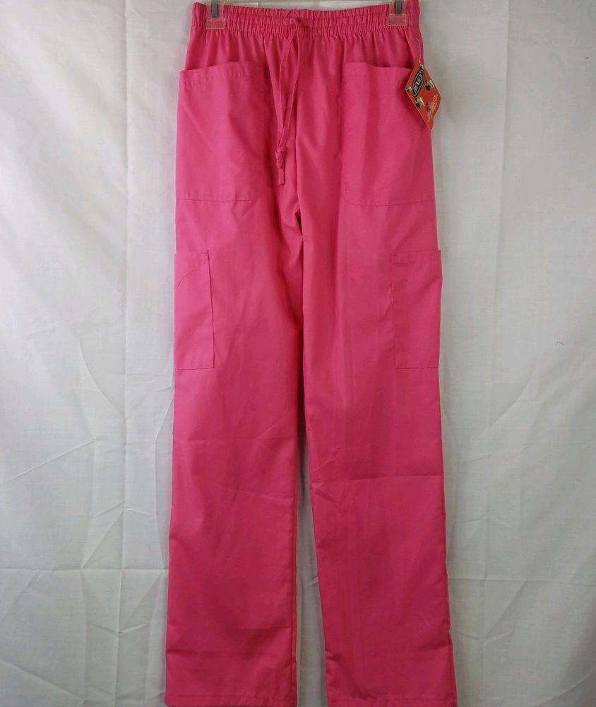 0343bbd51c7 Denice Scrub Pants Pink Elastic Drawstring Waist Cargo Pocket Nurse Medical  Sz S #DENICE #Scrubs #MedicalUniform #HospitalUniform