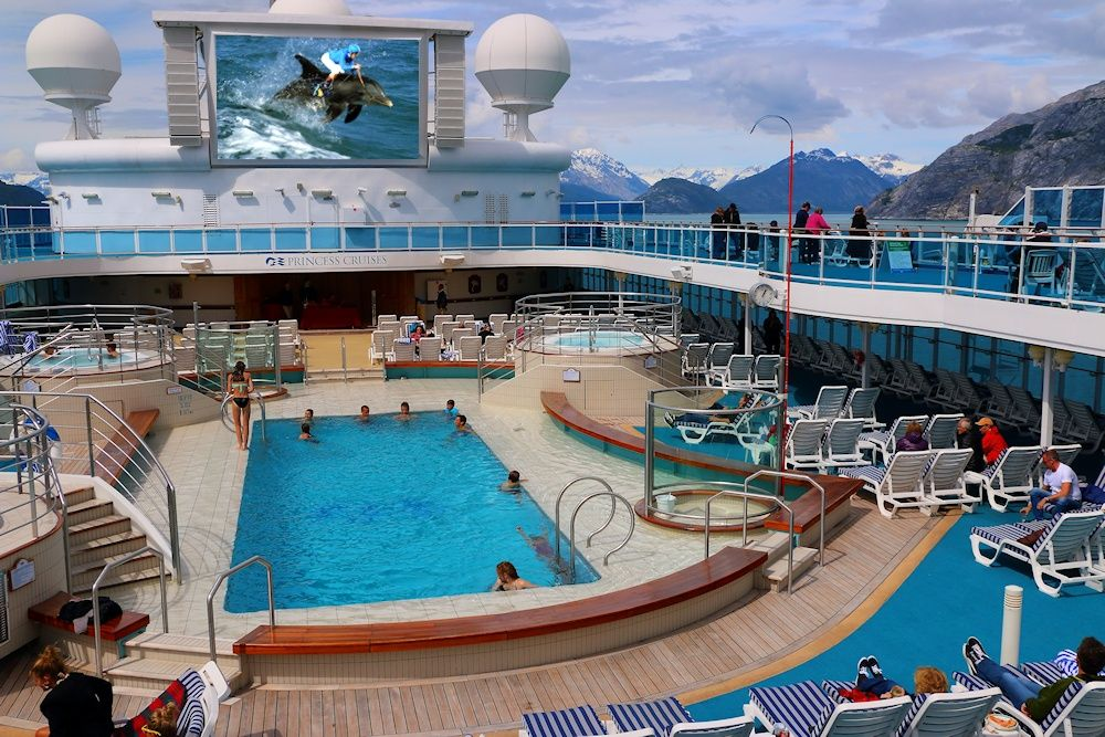 Coral Princess Lido Deck Pool During An Alaska Cruise