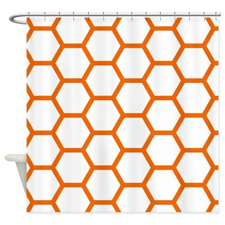 Orange And White Honeycomb Shower Curtain By Kassy With Images
