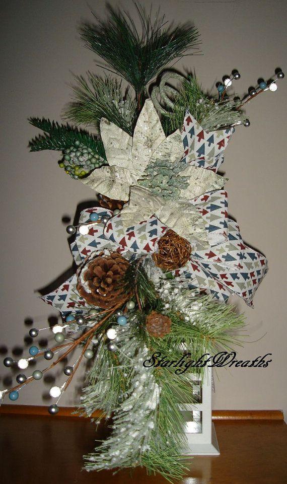 Poinsettia Christmas Lantern Swag with Snowy by StarlightWreaths