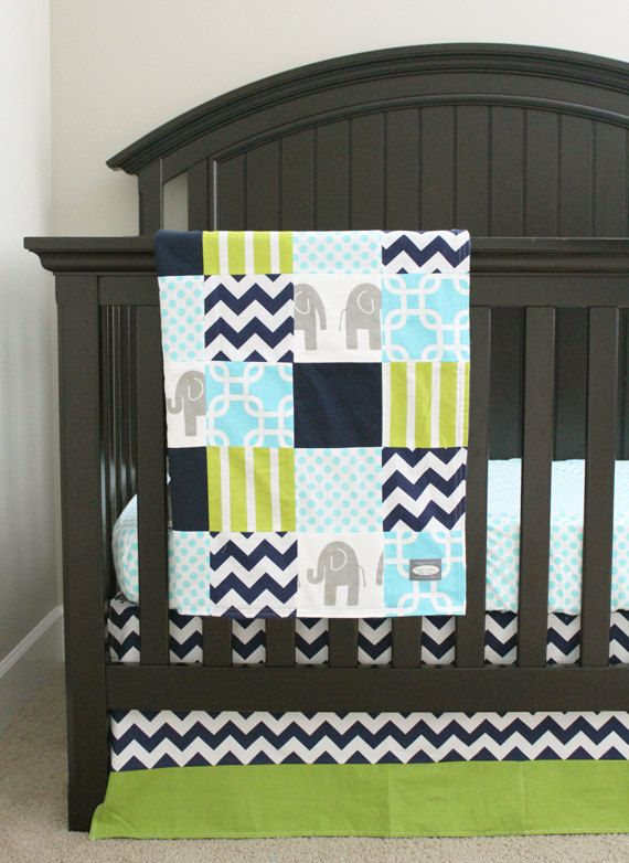 Crib Bedding Navy Blue Lime Green Aqua