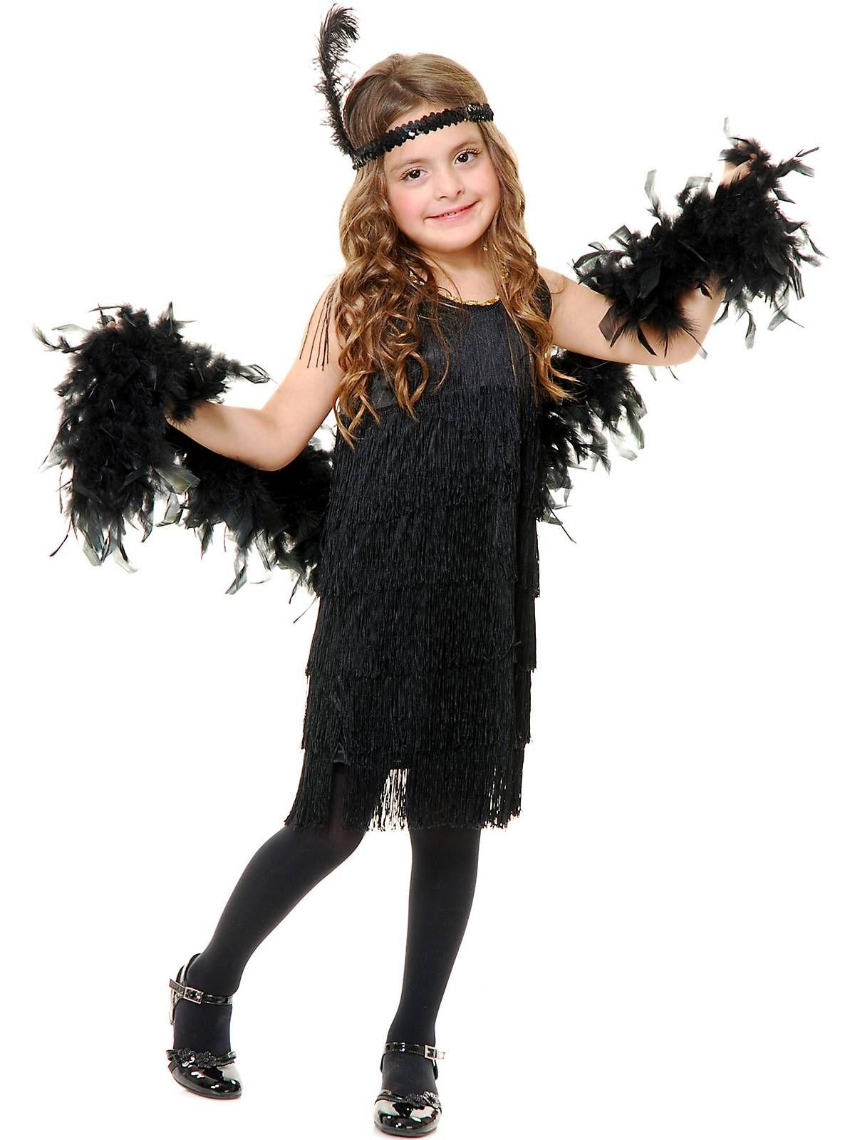 CHILDRENS KIDS GIRLS FRINGE FLAPPER FANCY DRESS COSTUME 1920S 20S OUTFIT