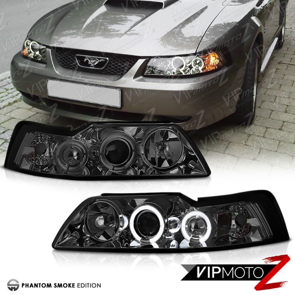 For 99 04 Ford Mustang V8 V6 Gt 5 0 Smoke Halo Led Projector Headlights Lamps Ford Mustang V8 Ford Mustang New Edge Mustang